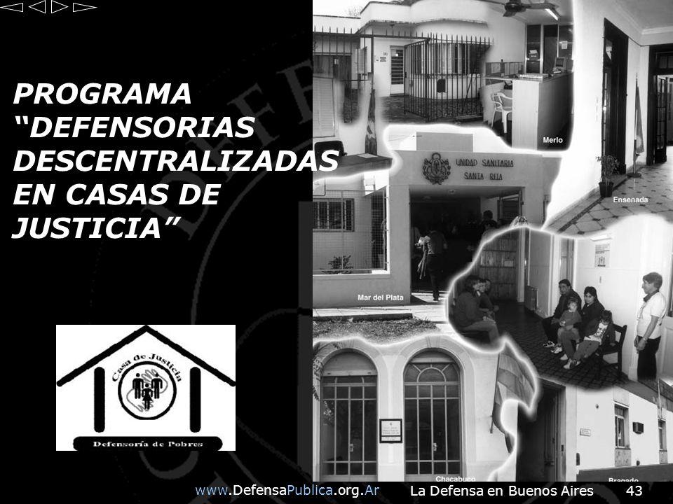 PROGRAMA DEFENSORIAS DESCENTRALIZADAS EN CASAS DE JUSTICIA