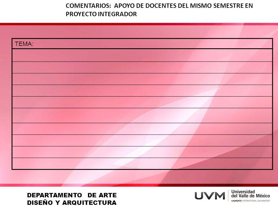 DEPARTAMENTO DE ARTE DISEÑO Y ARQUITECTURA
