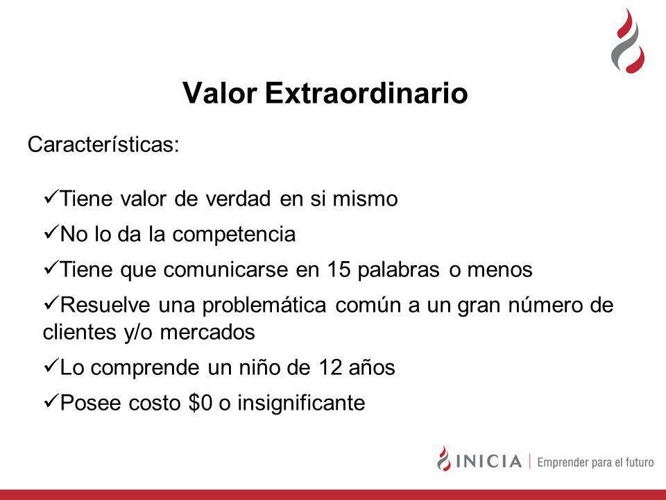 Valor Extraordinario Características: