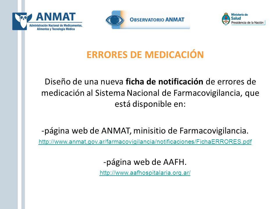 -página web de ANMAT, minisitio de Farmacovigilancia.