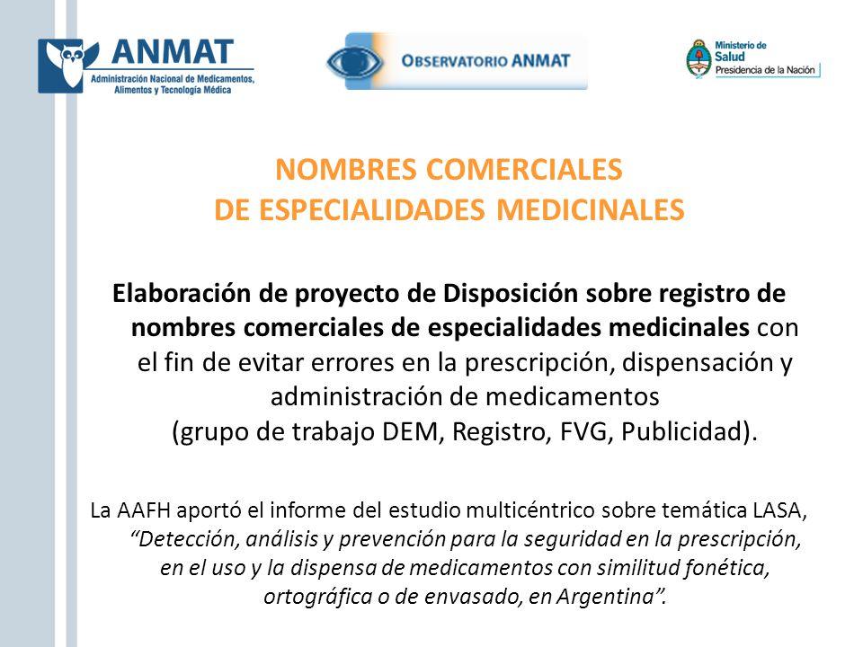 DE ESPECIALIDADES MEDICINALES