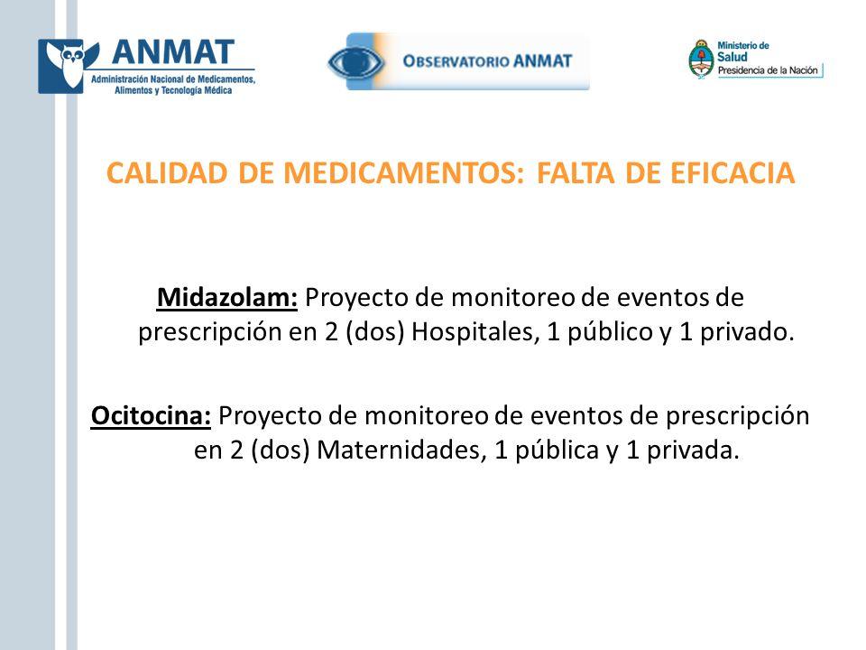 CALIDAD DE MEDICAMENTOS: FALTA DE EFICACIA