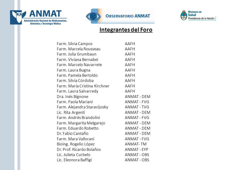 Integrantes del Foro Farm. Silvia Campos AAFH