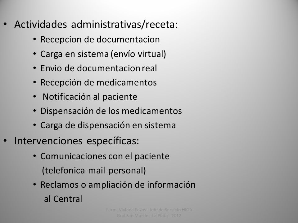 Actividades administrativas/receta: