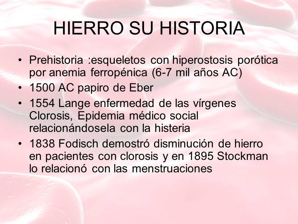 HIERRO SU HISTORIA Prehistoria :esqueletos con hiperostosis porótica por anemia ferropénica (6-7 mil años AC)
