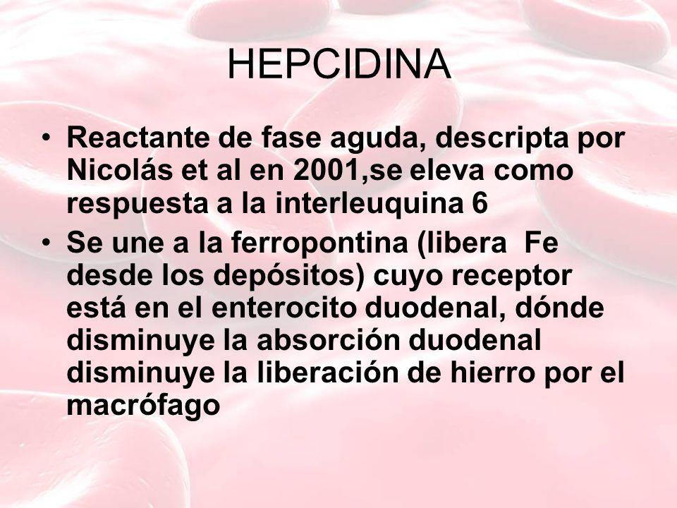 HEPCIDINA Reactante de fase aguda, descripta por Nicolás et al en 2001,se eleva como respuesta a la interleuquina 6.
