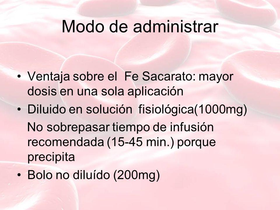 Modo de administrar Ventaja sobre el Fe Sacarato: mayor dosis en una sola aplicación. Diluido en solución fisiológica(1000mg)