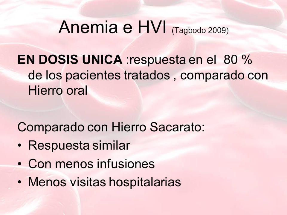 Anemia e HVI (Tagbodo 2009) EN DOSIS UNICA :respuesta en el 80 % de los pacientes tratados , comparado con Hierro oral.