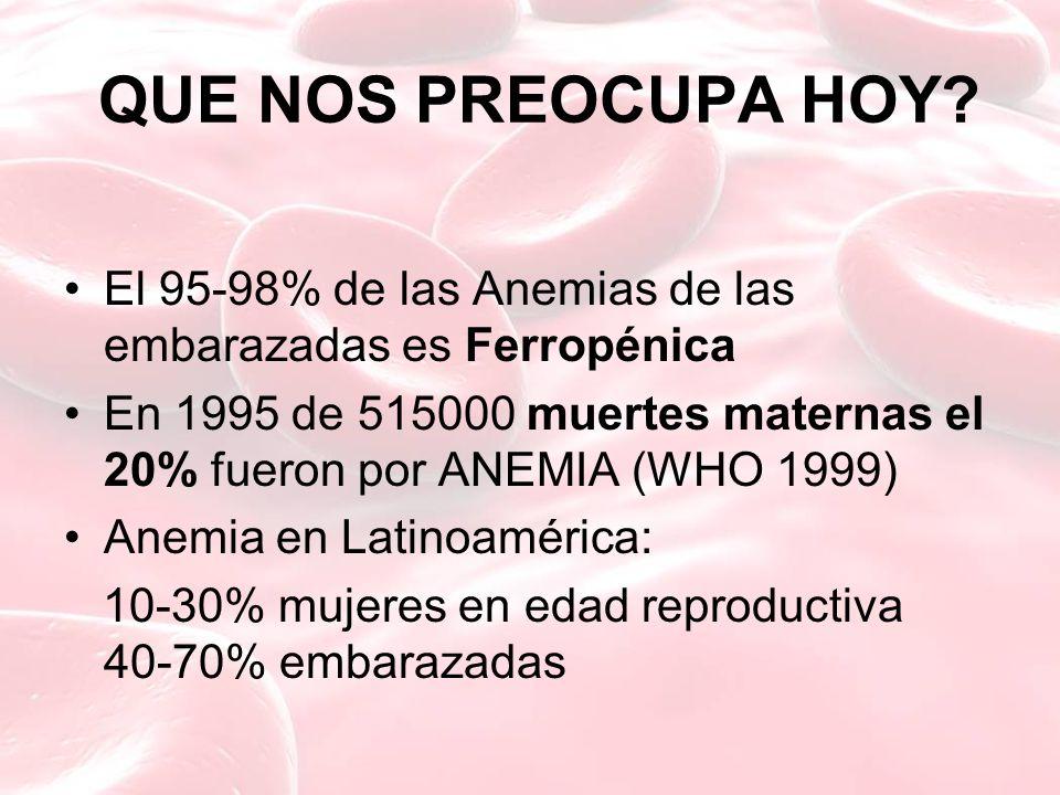 QUE NOS PREOCUPA HOY El 95-98% de las Anemias de las embarazadas es Ferropénica.