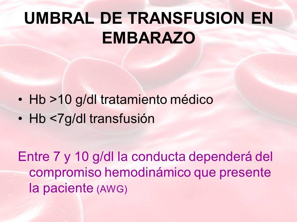 UMBRAL DE TRANSFUSION EN EMBARAZO