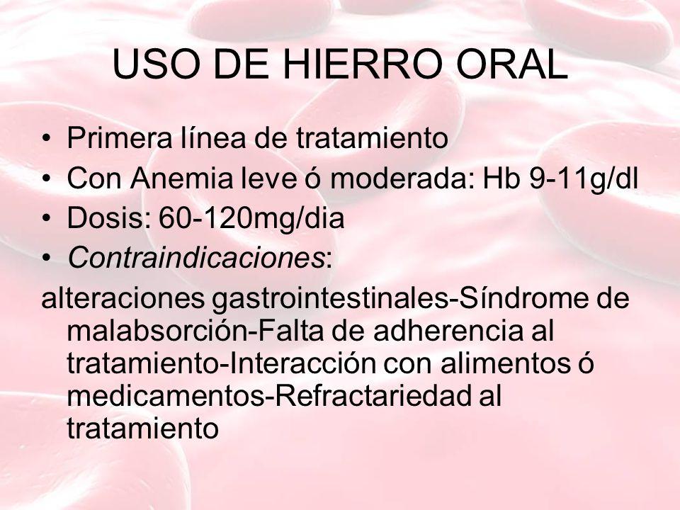 USO DE HIERRO ORAL Primera línea de tratamiento