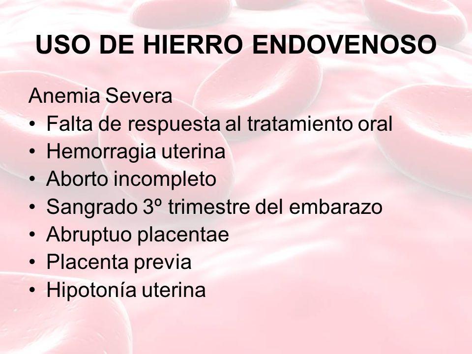 USO DE HIERRO ENDOVENOSO