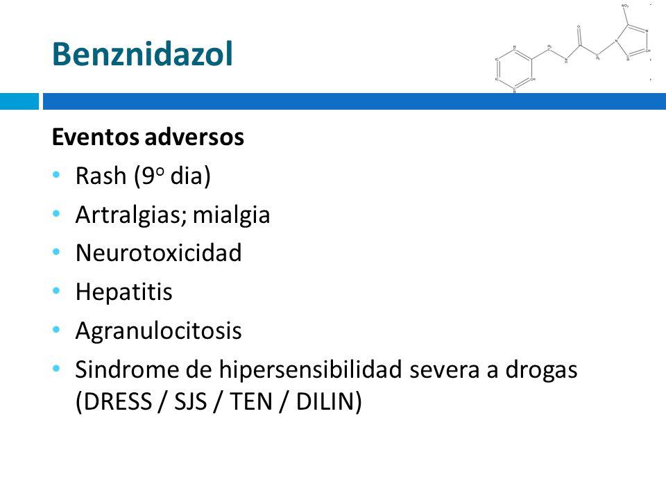 Benznidazol Eventos adversos Rash (9o dia) Artralgias; mialgia