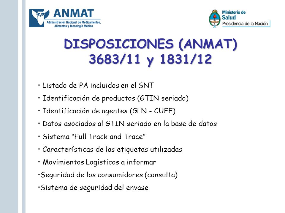 DISPOSICIONES (ANMAT) 3683/11 y 1831/12