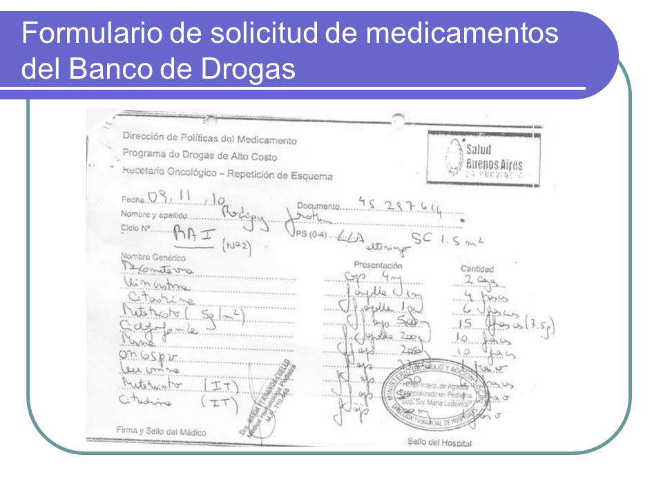 Formulario de solicitud de medicamentos del Banco de Drogas
