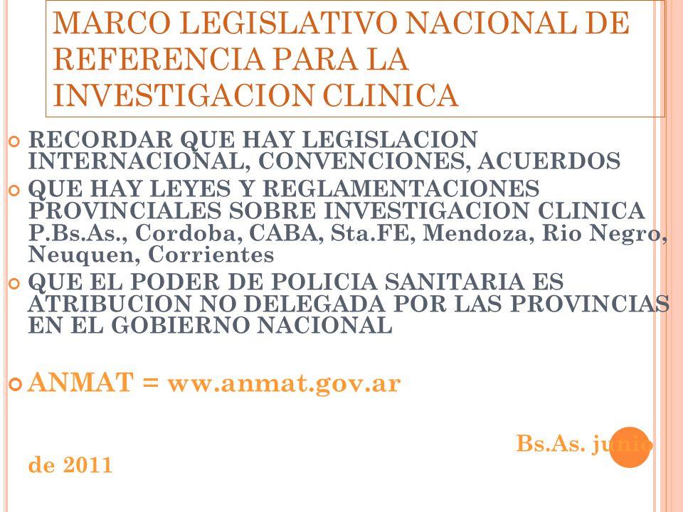 MARCO LEGISLATIVO NACIONAL DE REFERENCIA PARA LA INVESTIGACION CLINICA