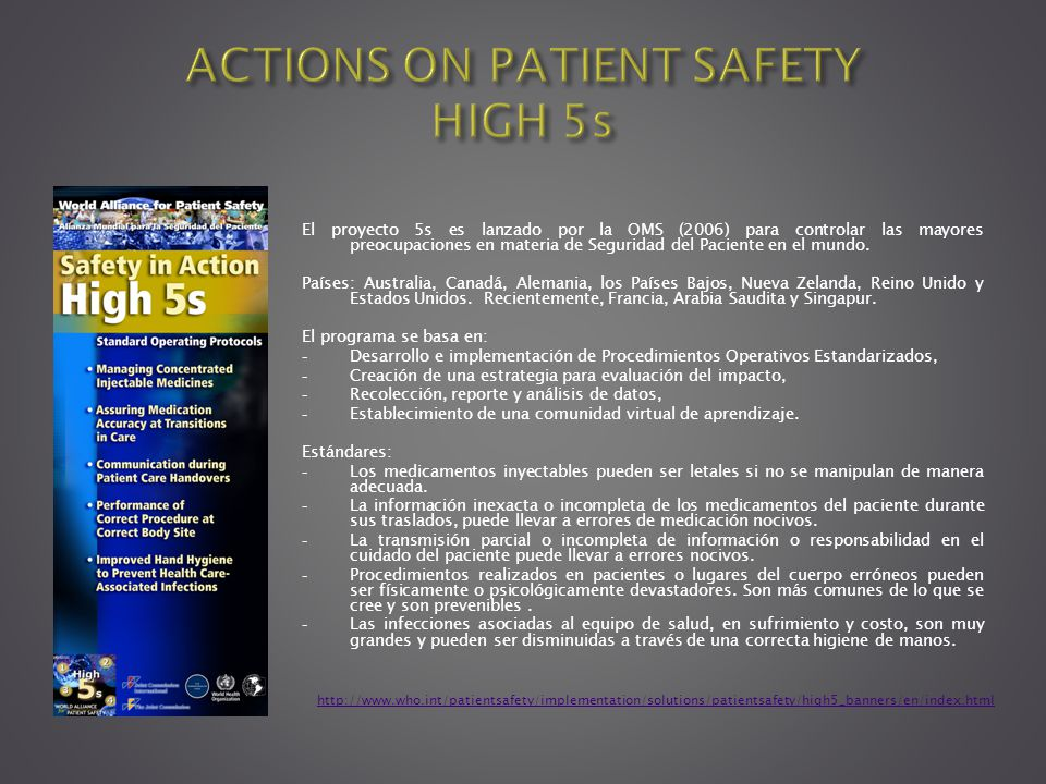 ACTIONS ON PATIENT SAFETY HIGH 5s