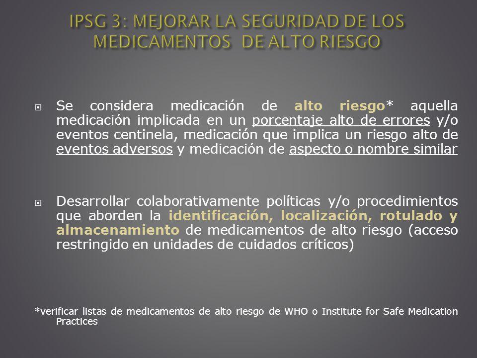 IPSG 3: MEJORAR LA SEGURIDAD DE LOS MEDICAMENTOS DE ALTO RIESGO