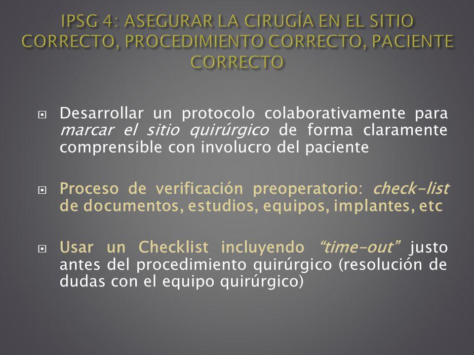 IPSG 4: ASEGURAR LA CIRUGÍA EN EL SITIO CORRECTO, PROCEDIMIENTO CORRECTO, PACIENTE CORRECTO
