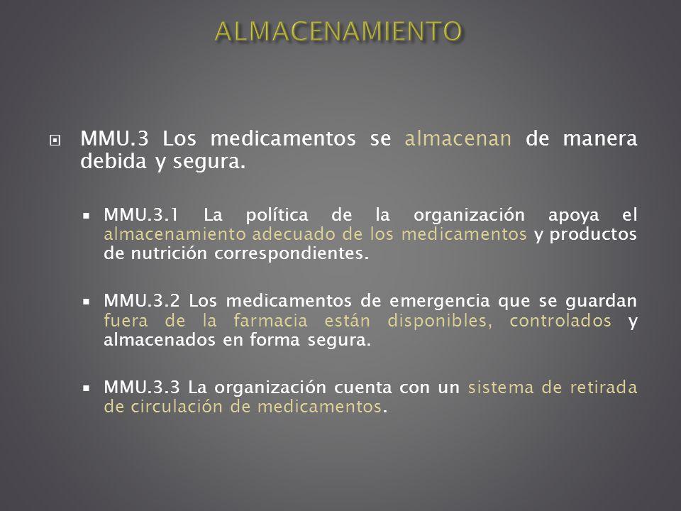 ALMACENAMIENTO MMU.3 Los medicamentos se almacenan de manera debida y segura.