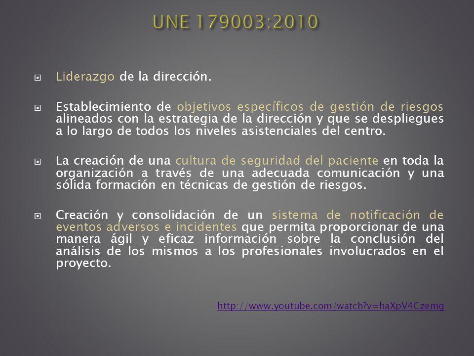 UNE 179003:2010 Liderazgo de la dirección.