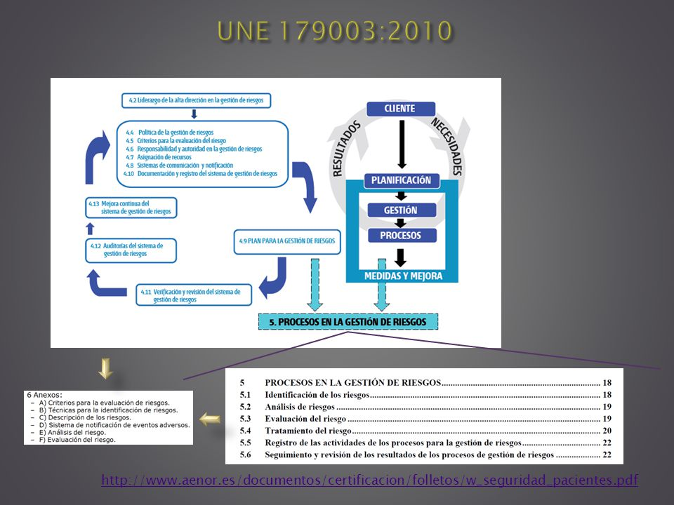 UNE 179003:2010 http://www.aenor.es/documentos/certificacion/folletos/w_seguridad_pacientes.pdf.