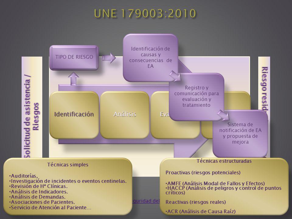 UNE 179003:2010 Solicitud de asistencia / Riesgos