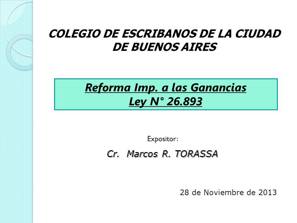 Reforma Imp. a las Ganancias Ley N° 26.893