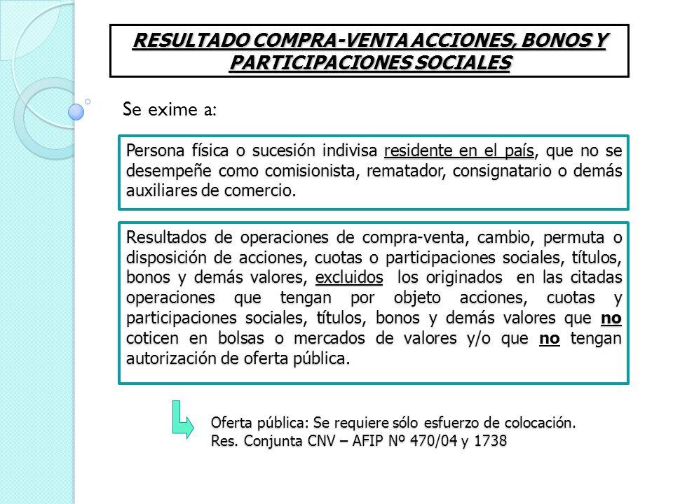 RESULTADO COMPRA-VENTA ACCIONES, BONOS Y PARTICIPACIONES SOCIALES