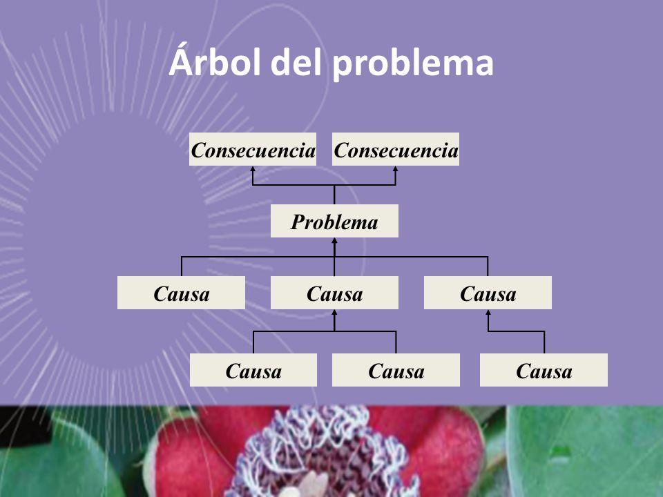 Árbol del problema Consecuencia Consecuencia Problema Causa Causa