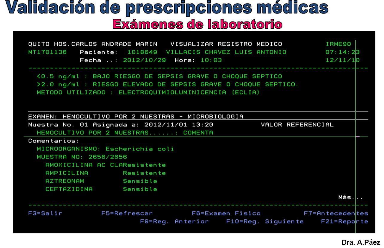 Validación de prescripciones médicas Exámenes de laboratorio