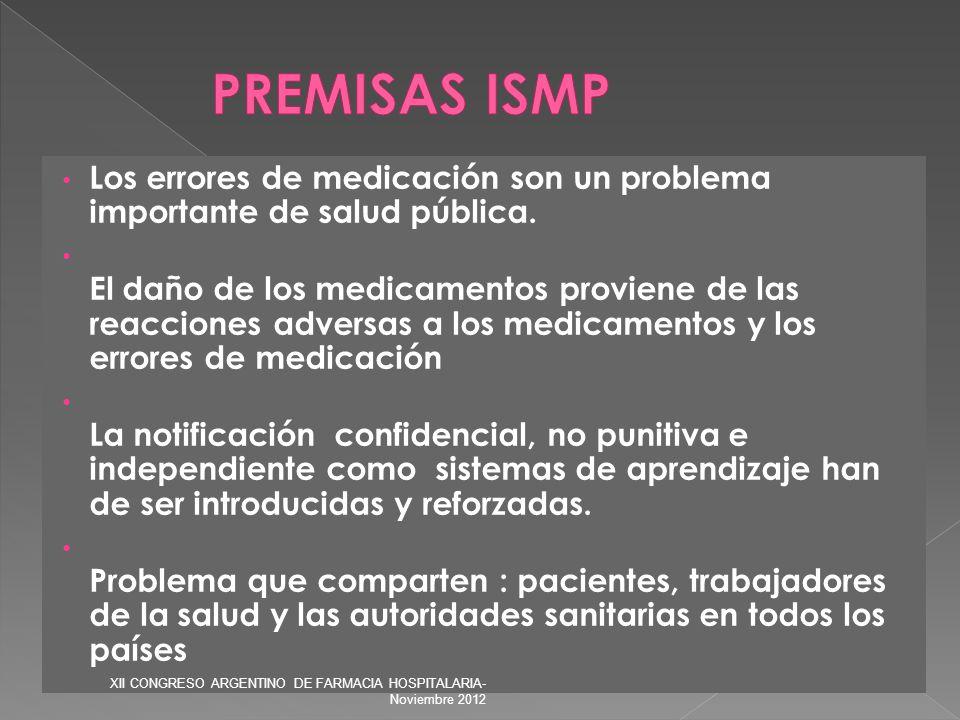 PREMISAS ISMP Los errores de medicación son un problema importante de salud pública.