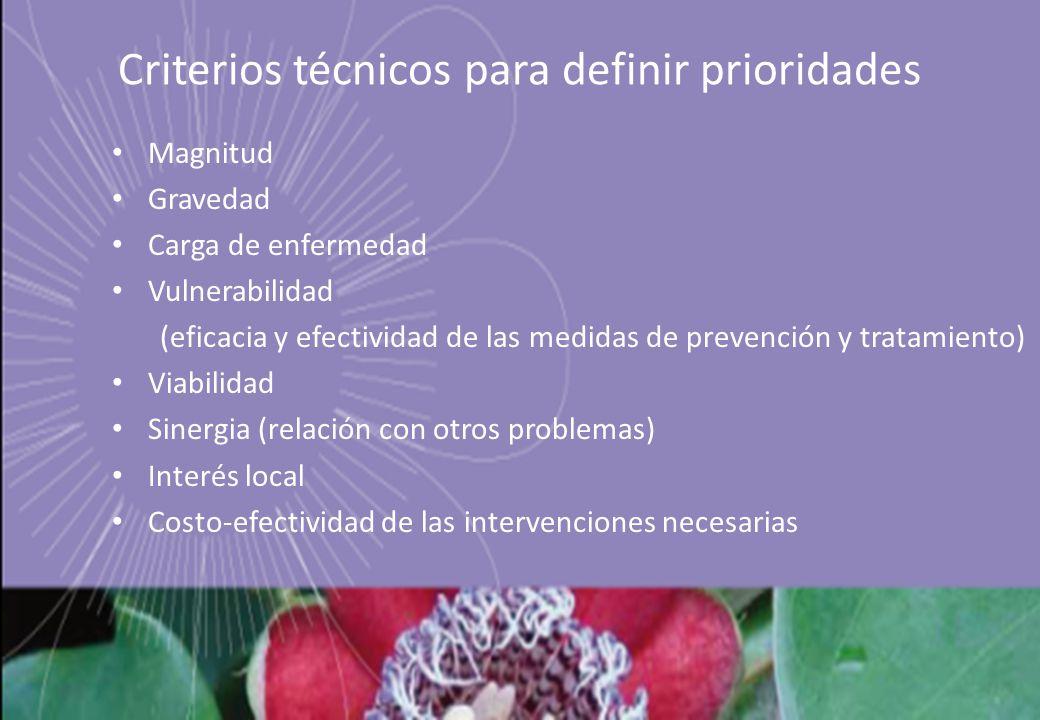 Criterios técnicos para definir prioridades