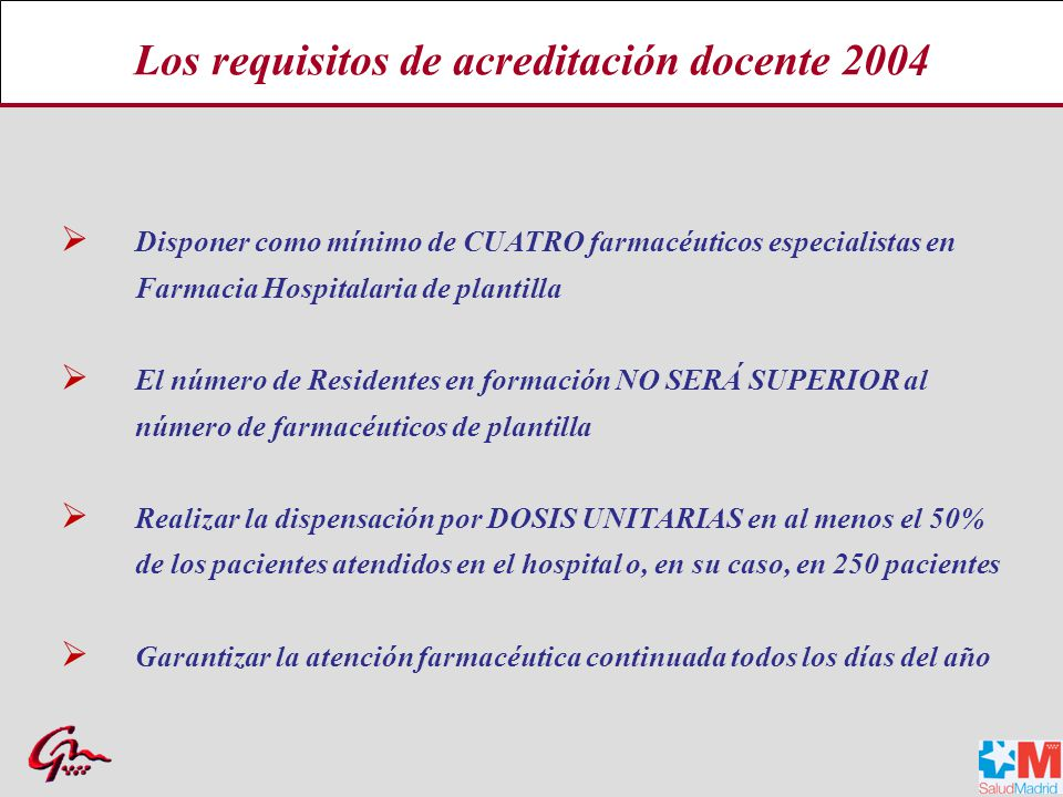 Los requisitos de acreditación docente 2004