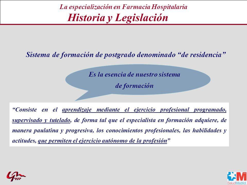 La especialización en Farmacia Hospitalaria Historia y Legislación
