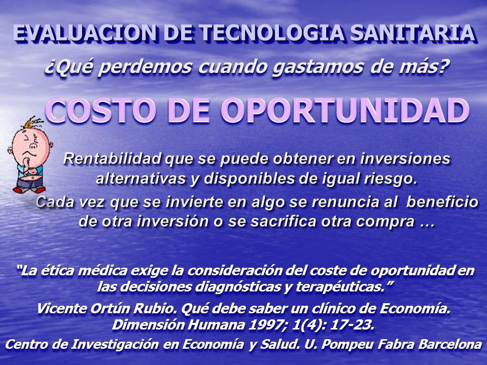 COSTO DE OPORTUNIDAD EVALUACION DE TECNOLOGIA SANITARIA