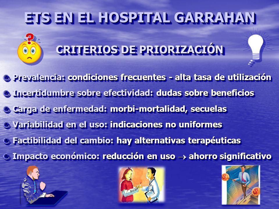 ETS EN EL HOSPITAL GARRAHAN CRITERIOS DE PRIORIZACIÓN