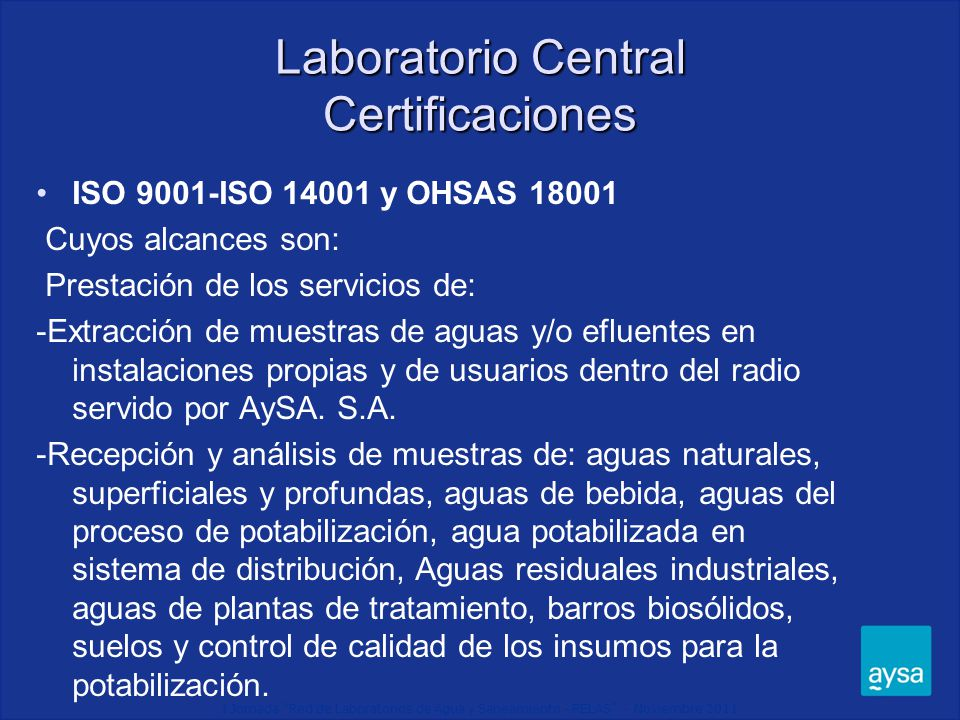 Laboratorio Central Certificaciones