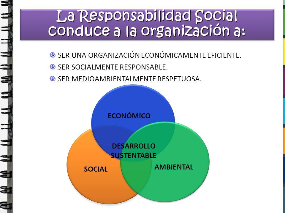 La Responsabilidad Social conduce a la organización a: