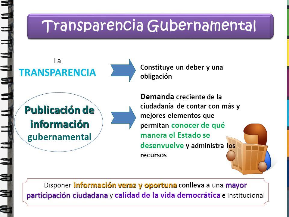 Transparencia Gubernamental Publicación de información gubernamental
