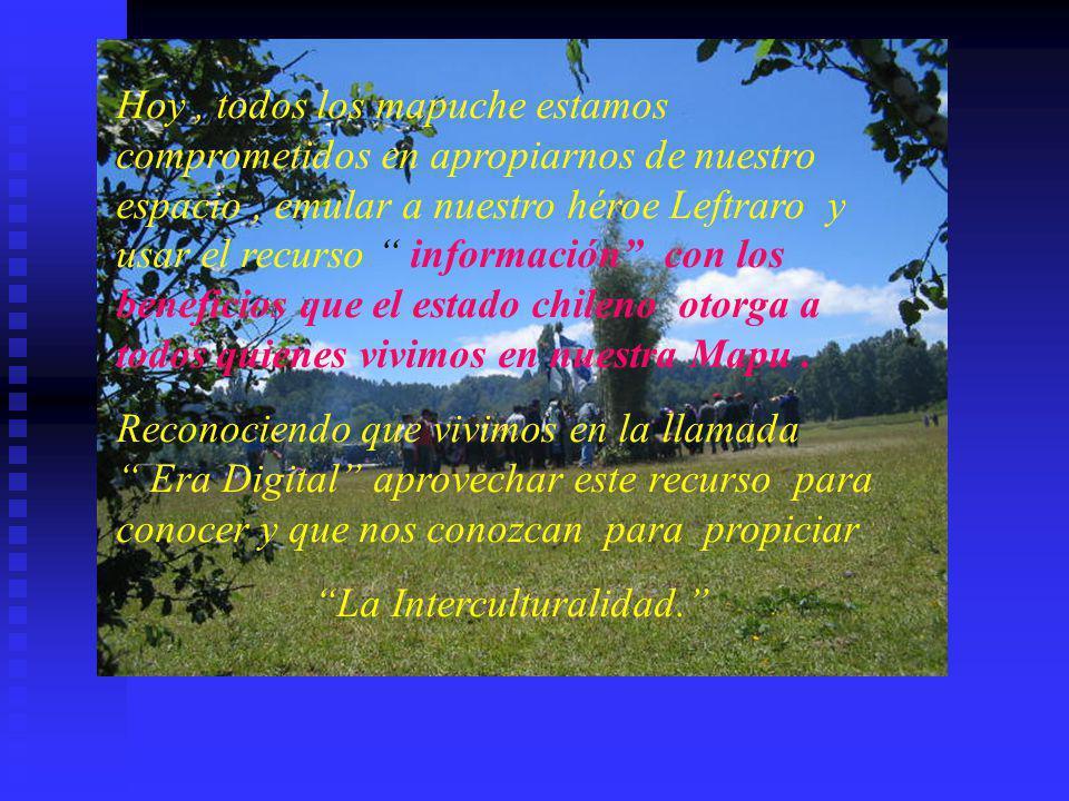 Hoy , todos los mapuche estamos comprometidos en apropiarnos de nuestro espacio , emular a nuestro héroe Leftraro y usar el recurso información con los beneficios que el estado chileno otorga a todos quienes vivimos en nuestra Mapu .