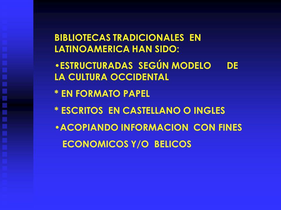 BIBLIOTECAS TRADICIONALES EN LATINOAMERICA HAN SIDO: