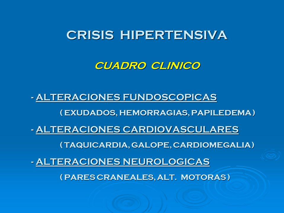 CRISIS HIPERTENSIVA CUADRO CLINICO