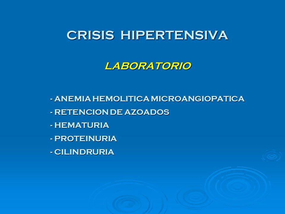 CRISIS HIPERTENSIVA LABORATORIO