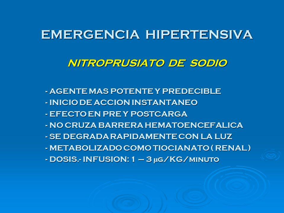 EMERGENCIA HIPERTENSIVA NITROPRUSIATO DE SODIO