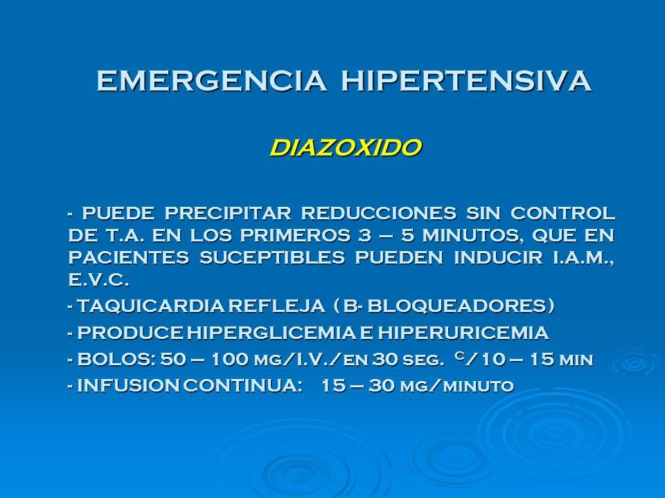 EMERGENCIA HIPERTENSIVA DIAZOXIDO
