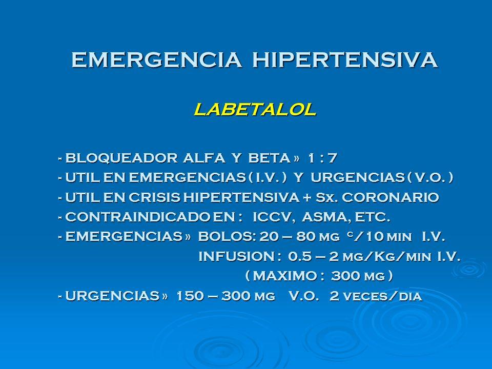 EMERGENCIA HIPERTENSIVA LABETALOL