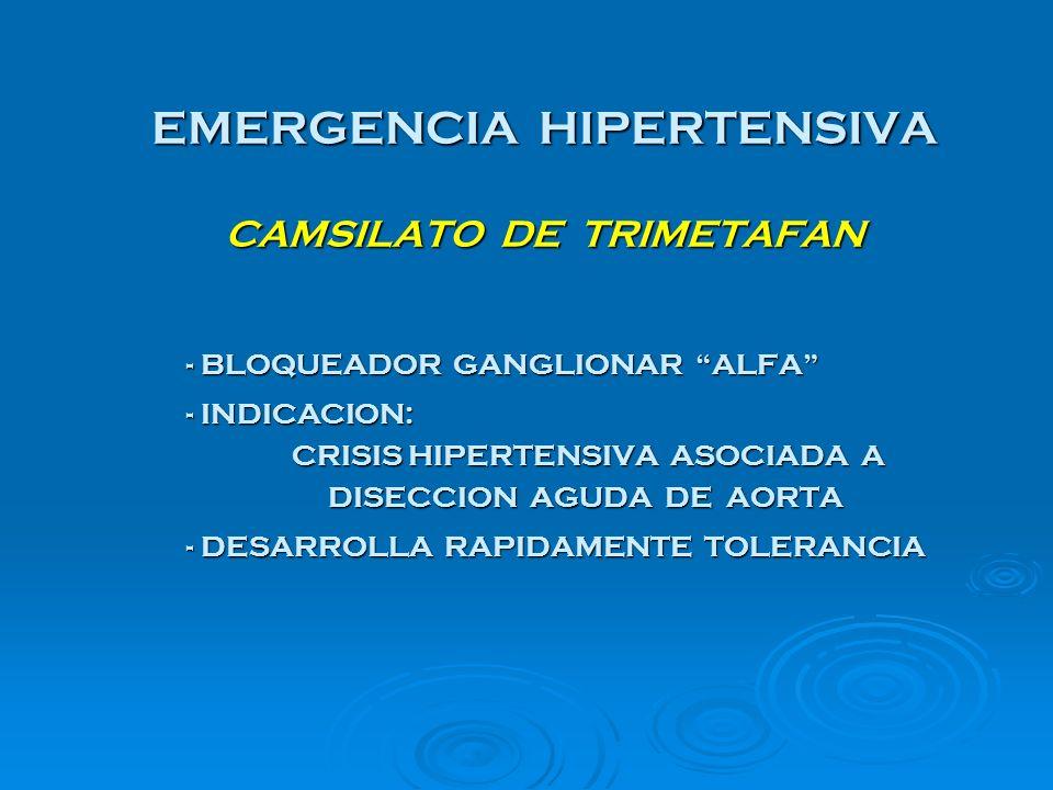 EMERGENCIA HIPERTENSIVA CAMSILATO DE TRIMETAFAN