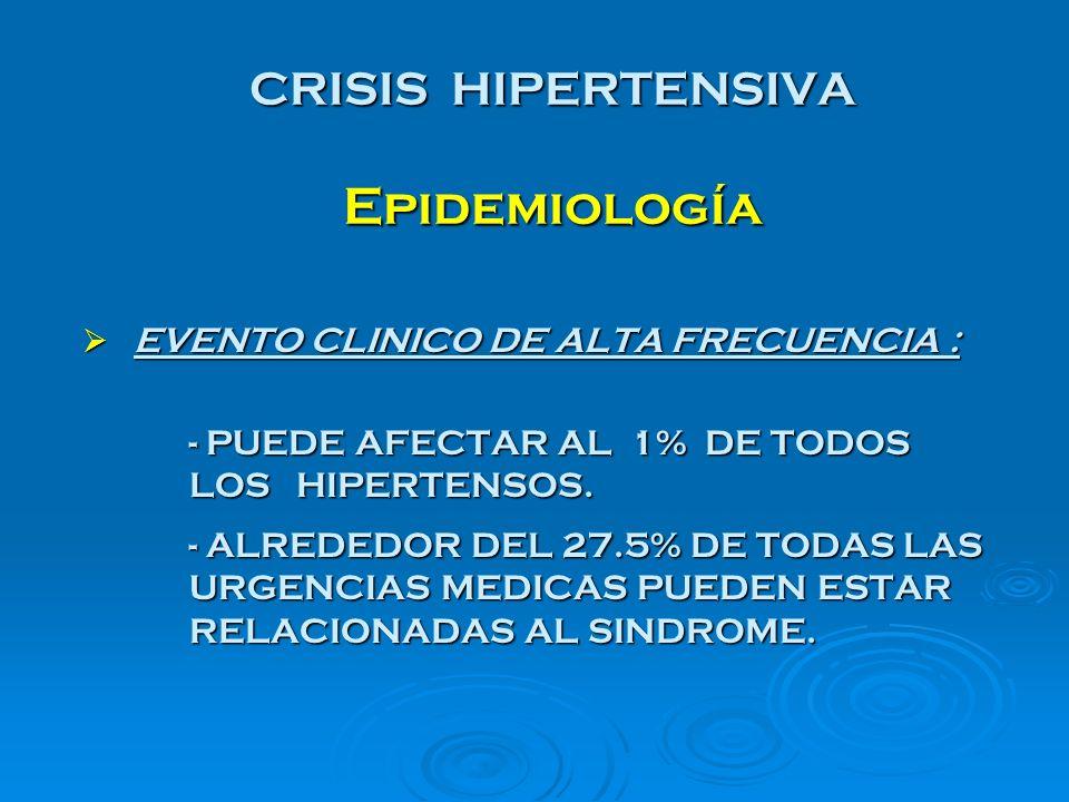 CRISIS HIPERTENSIVA Epidemiología