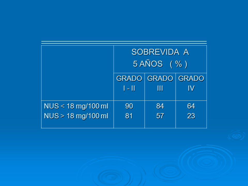 SOBREVIDA A 5 AÑOS ( % ) GRADO I - II III IV NUS < 18 mg/100 ml